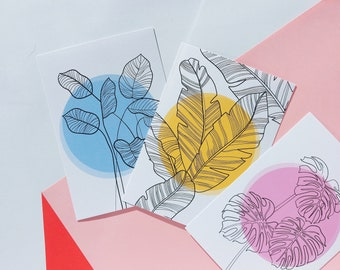3 x leaves cards