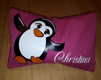 Kirschkernkissen / Körnerkissen Pinguin individualisierbar mit Namen - 2-teiliges Kirschkernkissen