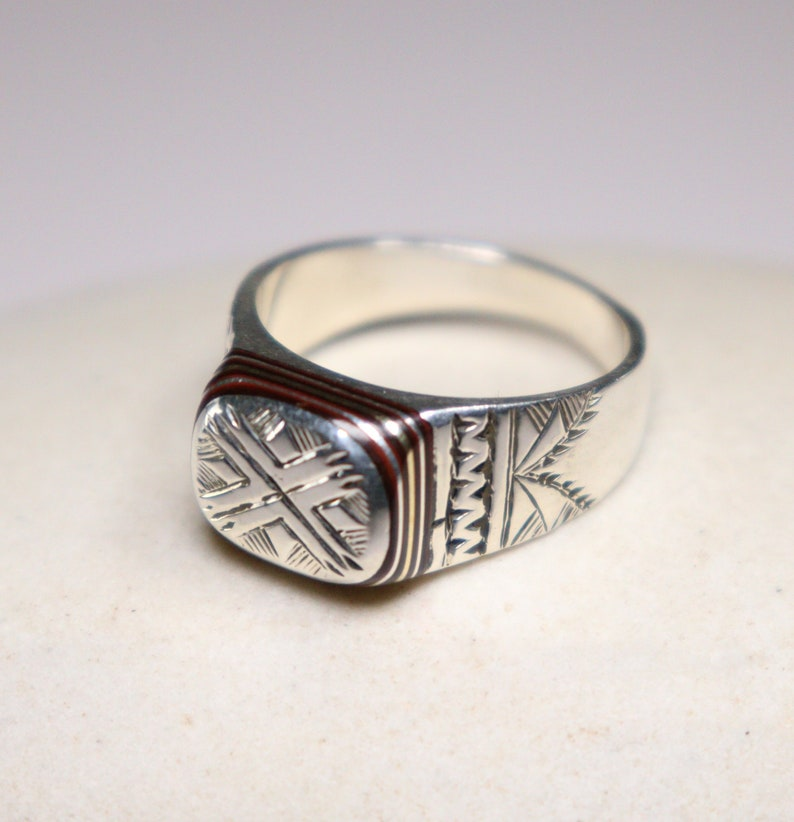 925 Silver /& Ebony Ring US Size 11 12 Tribal Ring Authentic Ring Ethnic Ring Engraved Ring Oriental Ring Bohemian Ring