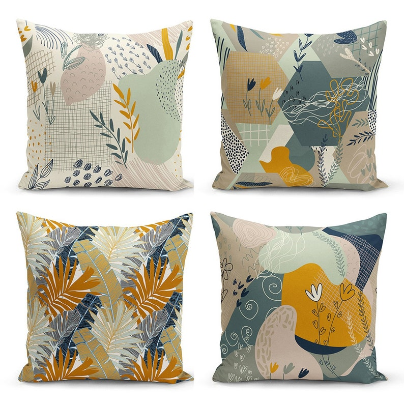 Handmade Pillow Cover 17 inches x 17 inches 43 cm x 43 cm Turkish Cushion Cove Decorative Pillow Cover Throw Pillow Cover 4 Pcs