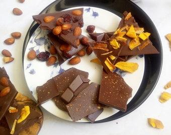Fathers Day Trio Chocolate Bark | Mango and Orange - Chili - Smoked almonds and Cranberry | Homemade with love | Vegan Dark chocolate