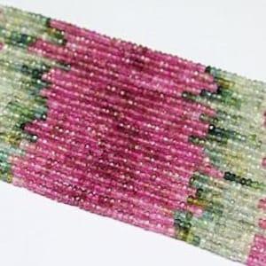 7mm Rondelles Tour200 Watermelon Tourmaline Genuine Pink and Green Tourmaline Tourmaline Beads Faceted Rondelles Multi Tourmaline