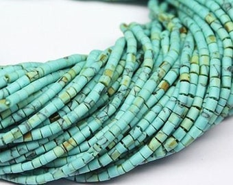 10 Strands Synthetic Green Turquoise Smooth Tiny Tube Seed Bead Strand 12 2mm