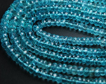 Sky Apatite Shaded Smooth Polished Gemstone Rondelle Bead Strand 13 3mm 3.5mm