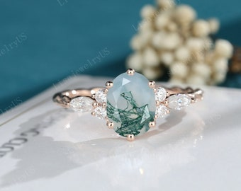 Oval Moss Agate engagement ring rose gold vintage engagement ring Dainty Marquise cut diamond twisted ring bridal anniversary promise ring