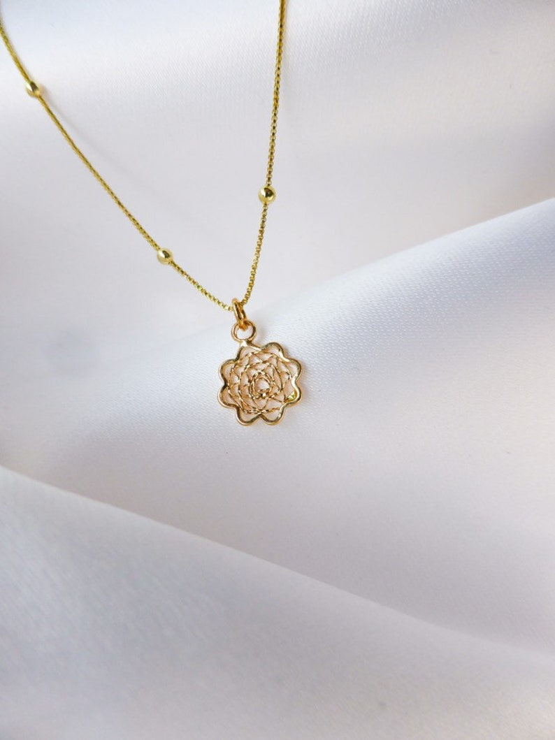 Floral Charm Necklace Gold Flower Floral Necklace Lotus Sunflower Jewelry Wildflower Gold Wire Necklace Flower Girl Rose Necklace