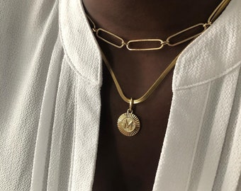 18K Gold Custom Round Initial Necklaces, Personalized Choker Name Necklace, Letter Jewelry, Herringbone Chain Necklace, Gifts For Her