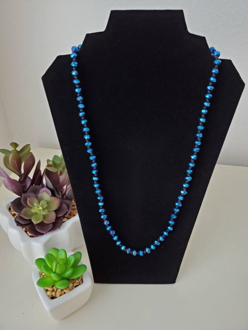 Blue Iridescent Rondelle Resin Beaded Necklace