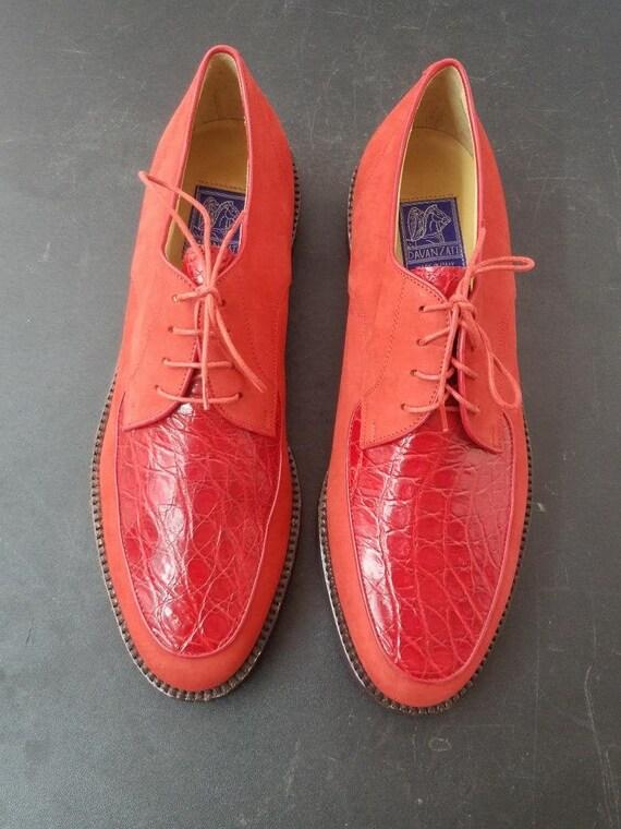 1990's NOS Davanzati Red Italian Shoes Sz 10.5D Lu