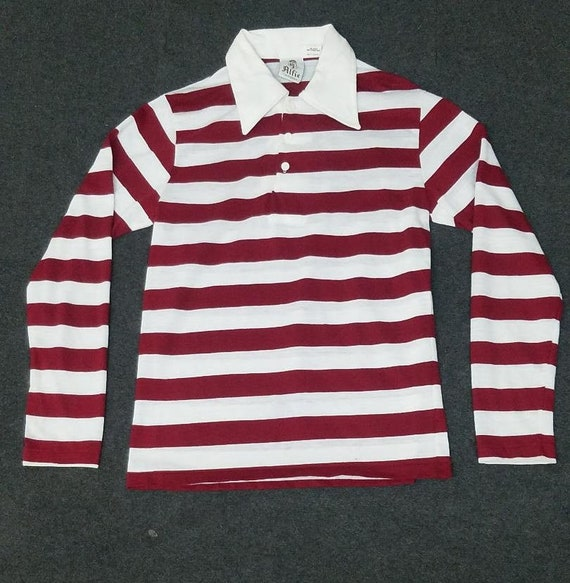 1970's Alfie Maroon Striped Pullover Shirt Size Me