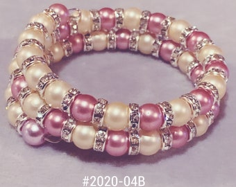 Pink and white with silver bling bracelet
