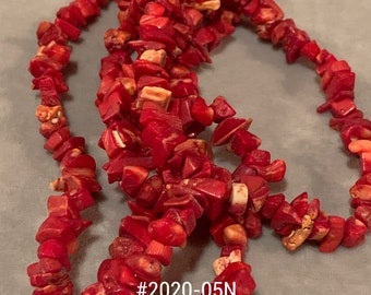 Red Chip Bead Necklace