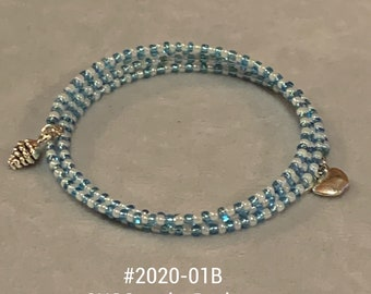 Blue and White Beaded Memory Bracelet with Grapes and Apple Charms