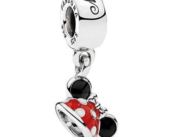 S925 Sterling Silver Minnie Ears Hat Red Enamel Charm Dangle Fit Bracelet
