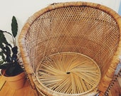 Large Peacock Chair, Wicker Rattan Bamboo Boho