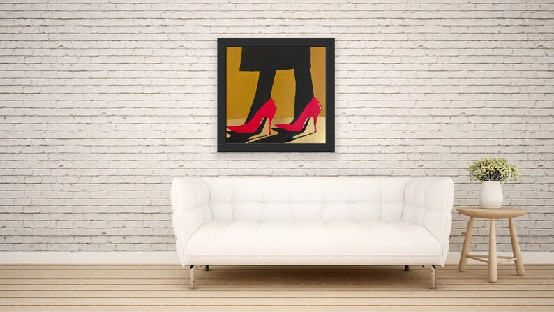 Signed Original Painting Red High Heels on Gold Floor
