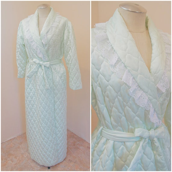 Mint Green Quilted Robe | Vintage 60s Housecoat |