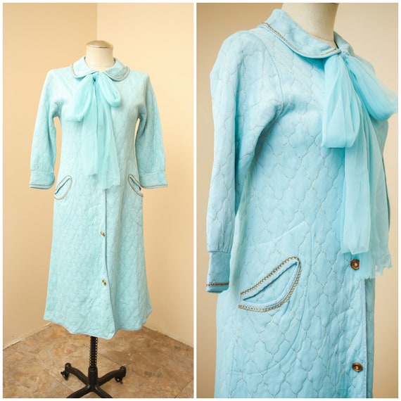Quilted Housecoat   Light Blue Metallic Gold Robe