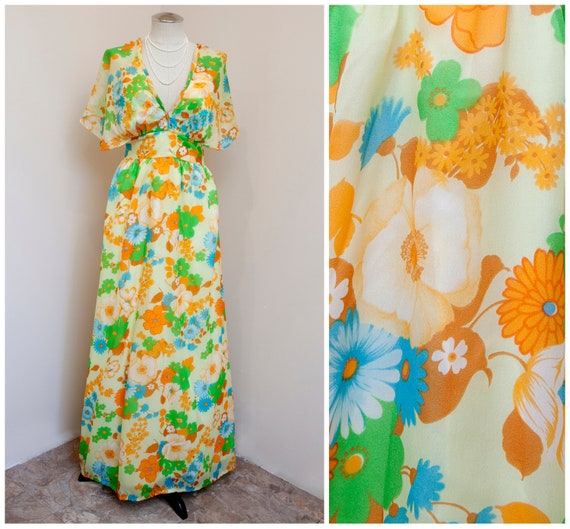 70s Floral Maxi | Jack Hartley Butterfly Sleeve Dr