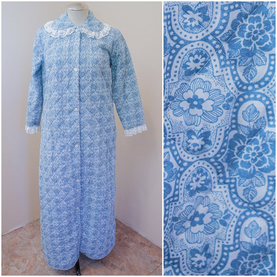 Blue Floral Quilted Robe | Bonwit Teller 1960s Hou