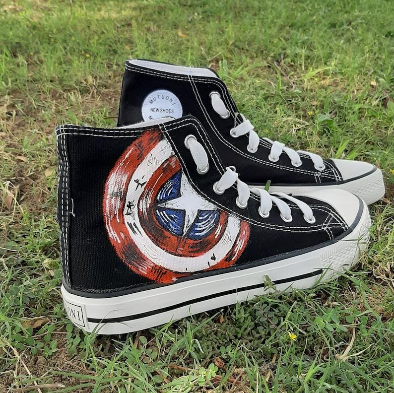 Captain America Mano Verniciata High Top Sneakers / Scarpe xurbXNNe