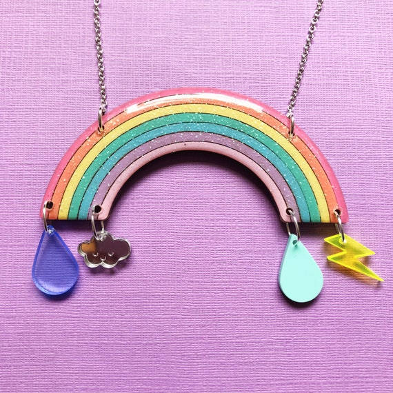 SALE - Resin and glitter rainbow statement necklace, lightning bolt and raindrop necklace - let your neck make a bold rainbow statement!