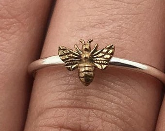 Bronze Bee Ring Sterling Honey Bee Ring Silver Bee Ring Gift for Bee Lovers