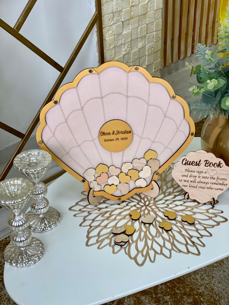 Tropical drop box guestbook alternative Sea shell wedding guestbook Sea shell wedding guest book alternative