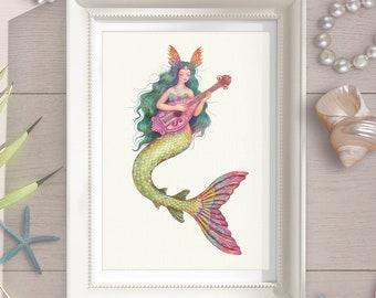 Magical Mermaid Art Print + 1 Card for Free