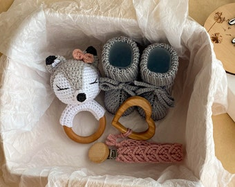 Macrame Teether /& Pacifier Clip for expecting mom gift WOLF rattle  new baby gift box boy