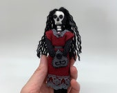 Felt Skeleton Girl Doll, Hand made art doll, ouija planchette, goth doll, collectible doll, skeleton doll