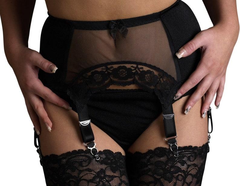 Locket Down Garter Belt In Black