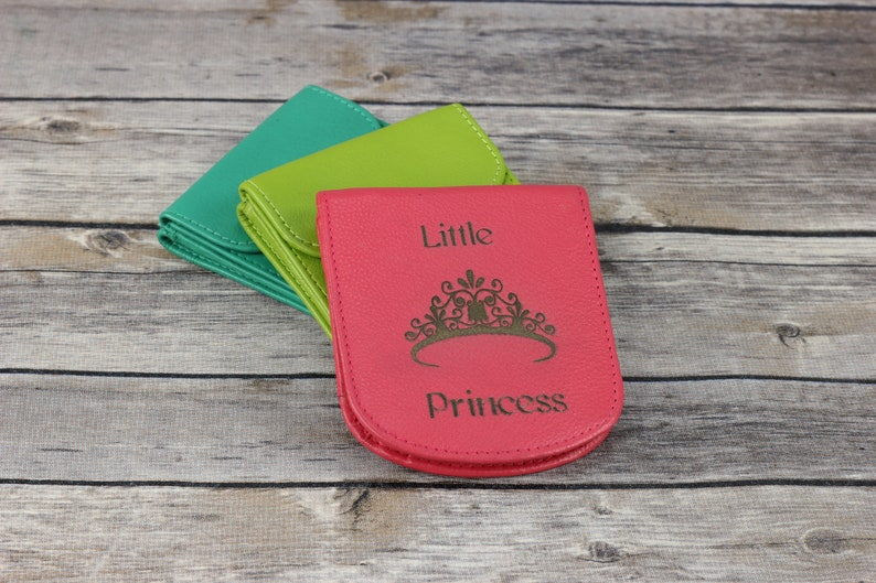 Little Princess engraved Leather wallet Small Slim wallet Colorful leather women/'s wallet gift for girls girls wallet bi-fold wallet