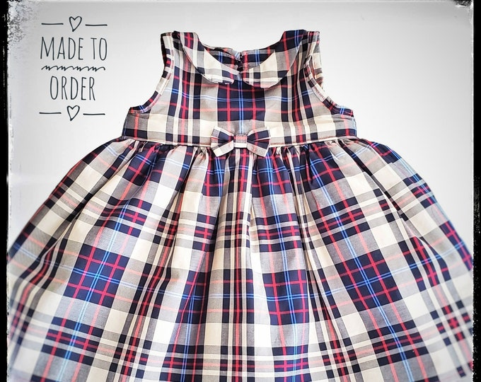 TOMA ~ baby toddler girl blue red full tulle plaid skirt dress + bow clips, first 1st birthday, baptism, holiday party, MADE to ORDER