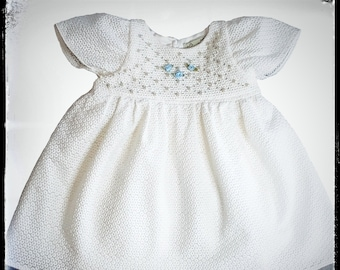 BLUE ~ full skirt white flower girl dress,  hand embroidered with sequins and rose buds MADE to ORDER