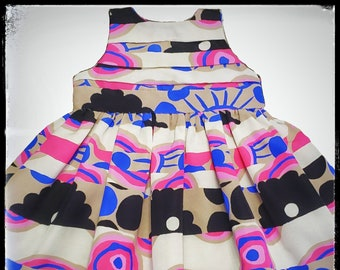 LANA ~ pink blue stripe flower print baby/young girl dress with back bow detail MADE to ORDER