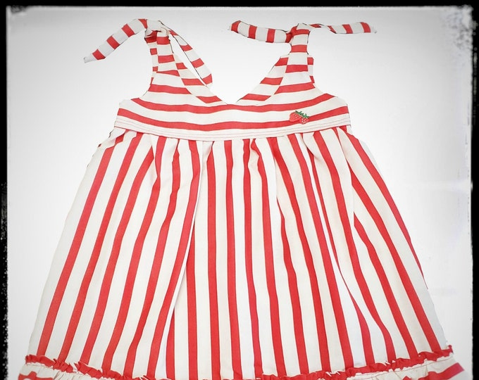 MIA ~ baby young girl silk striped sun dress with bow ties and applique detail MADE to ORDER