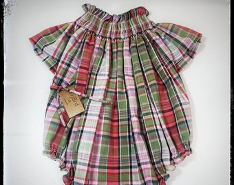 FAYE- vintage inspired baby girl toddler plaid cotton  hand smocked romper, MADE to ORDER