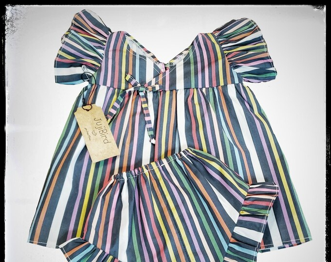 KAIA ~ baby girl colorful striped cotton outfit, ruffled V-neck top + bloomers MADE to ORDER