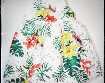 TROPICAL PARADISE ~ baby toddler girl floral printed white guipure lace & satin romper dress  made to ORDER