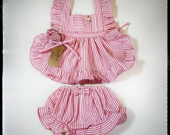 LIV-X ~ vintage-inspired pink striped cotton seersucker baby girl outfit- pinafore dress w/rose bud detail + bloomers, MADE to ORDER