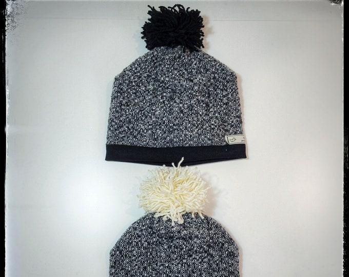 GIGI ~ unisex baby toddler winter tuque hat w/ pompom, black or white, head accessory, christmas xmas hanouka holiday shower newborn gift