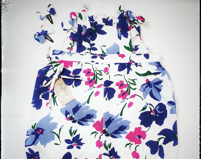 TESSA ~ baby girl floral print cotton ruffles summer romper and bow clips outfit MADE to ORDER