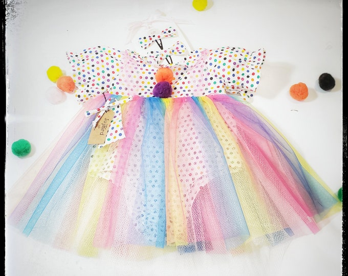 EMMA ~ baby girl clown-inspired party outfit, polka dot romper w/rainbow tulle tutu, bow clips MADE to ORDER