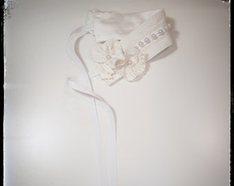 FLORE ~ ivory white accessory headband/belt, cotton, satin MADE to ORDER