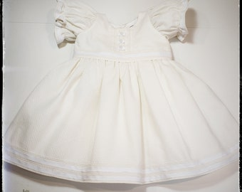 FLORE ~ ivory white flower girl, cotton dress  w/grosgrain ribbon and bow details + matching accessory, bloomersMADE to ORDER