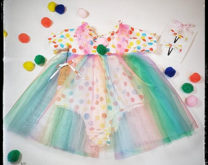 EMMA ~ baby toddler girl clown costume dress, halloween, birthday, cake smash, polka dot romper rainbow tulle tutu, bow clips MADE to ORDER