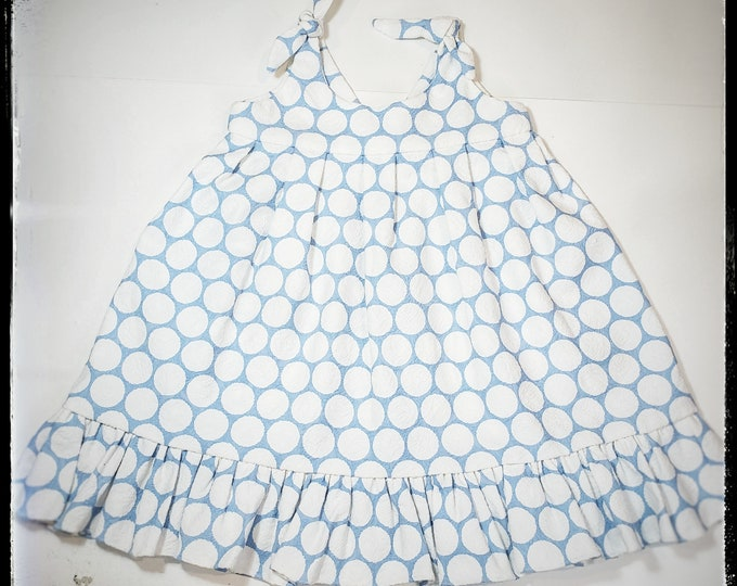 SUMMER SKY ~ baby toddler girl A-line fancy polka dot cotton summer dress, first birthday party, cake smash baptism, wedding, made to ORDER