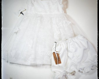 AVERY ~ baby toddler flower girl lace tutu outfit, dress bloomers hair bow, wedding baptism christening MADE to ORDER