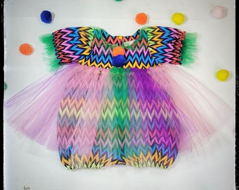 HARLEY ~ baby girl toddler clown costume romper w/tutu tulle rainbow skirt, halloween, first birthday party MADE to ORDER